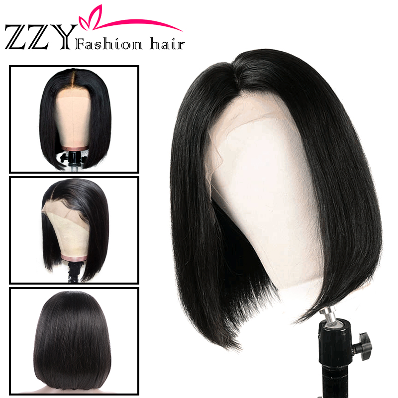 ZZY 13x4 Short Lace Front Human Hair Wigs 150% Density Brazilian Straight Bob Lace Frontal Wig Natural Color Non-remy Hair Wigs