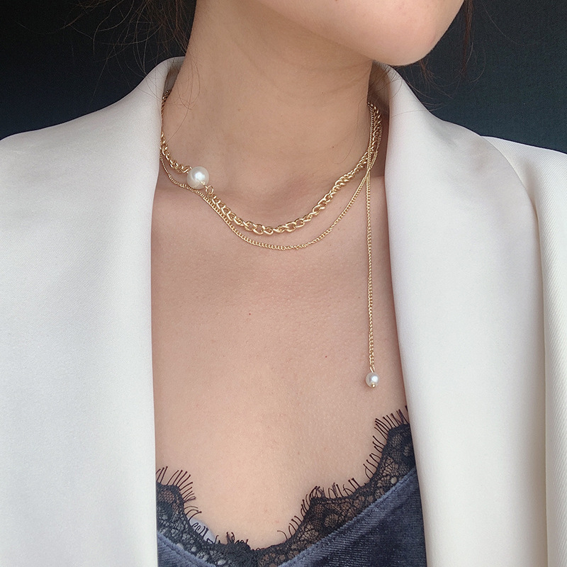3Pcs Women Vogue Necklace Set Alloy Choker Sequin Collar Leather Rope Chains