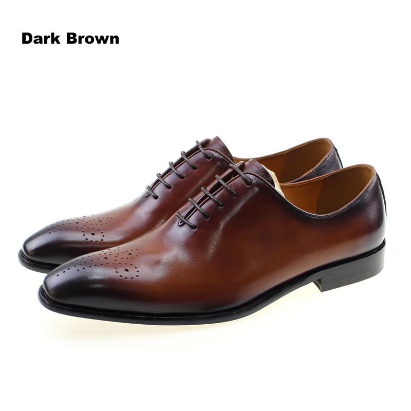 Zapatos de vestir marrones para fiesta de boda con cordones Oxford de corte entero para hombres de cuero genuino clásico de marca de la marca tallado-in Zapatos formales from zapatos    3