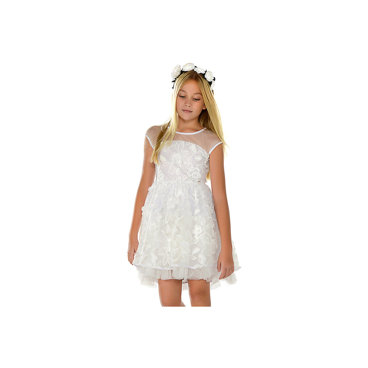 MAYORAL Dresses 10690527 Girl Children Party fitted pleated skirt White Polyester Preppy Style Floral Knee-Length Sleeveless Sleeve white tube top and floral print pleated hem skirt co ord