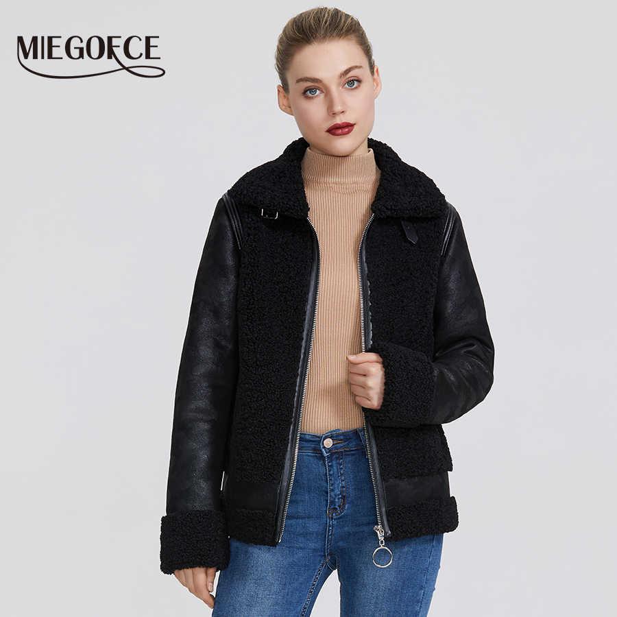 Miegofce 2019 Baru Musim Dingin Wanita Koleksi Faux Fur Jaket Mantel Musim Dingin Kulit Domba Jaket Tahan Angin Tahan Kerah dengan Bulu