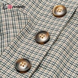 Image 5 - Conmoto 2019 Winter High Waist Skirts Women Button Casual Plaid Female Short Skirt Elegant Pocket Ladies Skirt