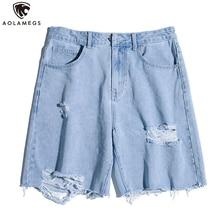 Aolamegs Men Jeans Hole Solid Color Loose Denim shorts Hip Hop men All-match Shorts  Harajuku Fashion Streetwear Summer