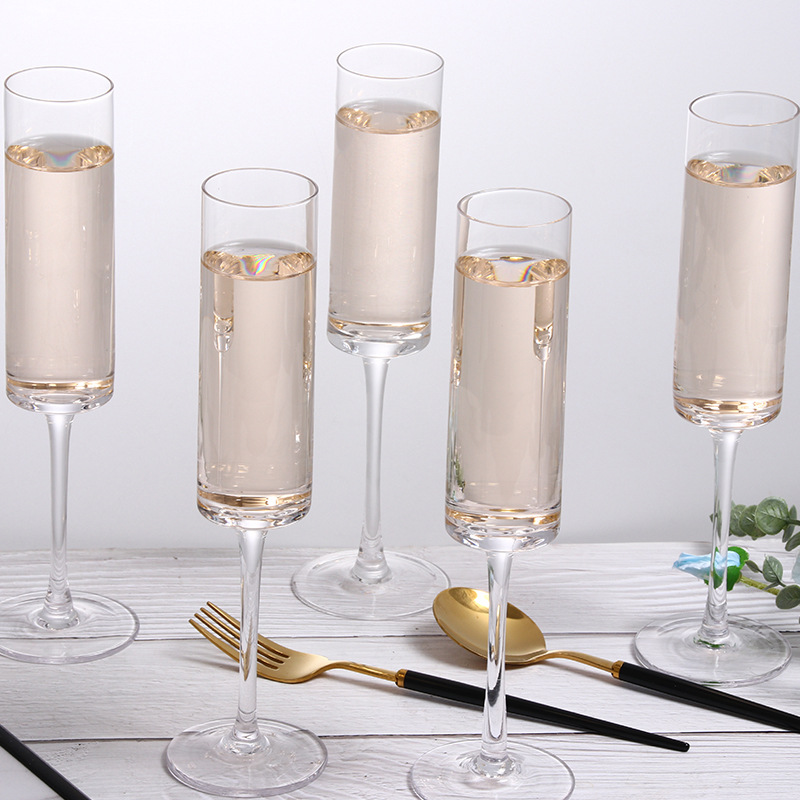 Creative straight tube champagne glass lead-free crystal glass 6-Piece set bubble wine goblet restaurant wine glass