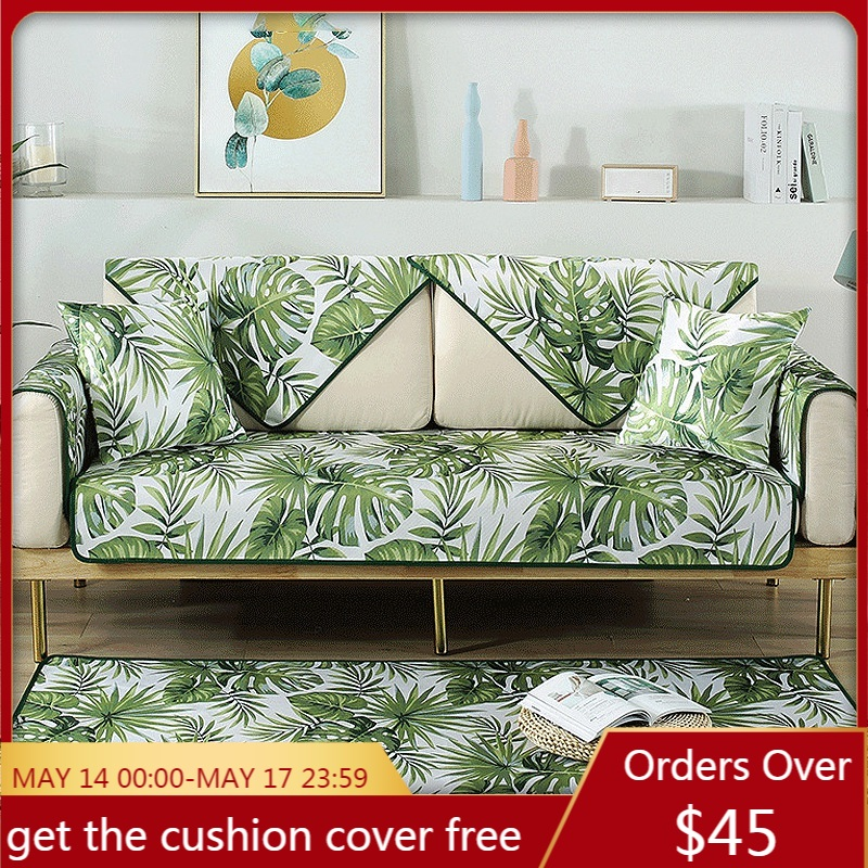 Summer Sofa Cover Mat Tropical Leaves Sofa Towel Slipcover Cool Cold Couch Covers Smooth Seat Cushion Couches for Living Room