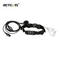 Retevis ETK003 Tenggorokan Micropnone 2 Pin dengan Besar Jari PTT Headphone Headset untuk Kenwood Walkie Talkie Tenggorokan Mic C9125A