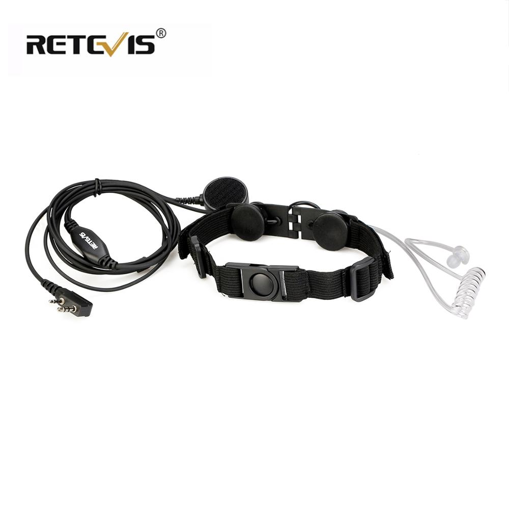 Retevis ETK003 Throat Micropnone 2 Pin With Big Finger PTT Headphone Headset  For Kenwood Walkie Talkie Throat Mic  C9125A