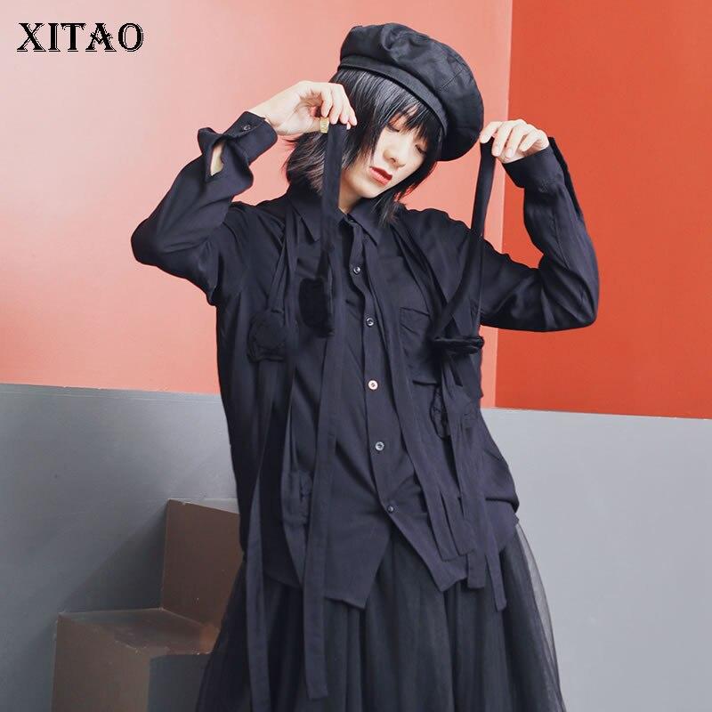 XITAO stéréoscopique Floral ruban noir petit haut femmes mode col rabattu simple boutonnage poche Blouse vêtements GCC1166