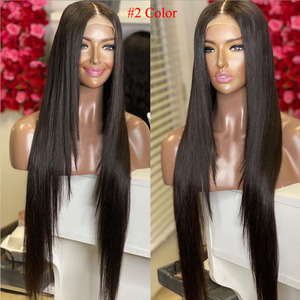 #2 Color Dark Brown Synthetic Lace Front Wigs Pre Plucked Hairline 13X4 Lace Front Wig Colorful Red Blonde Purple