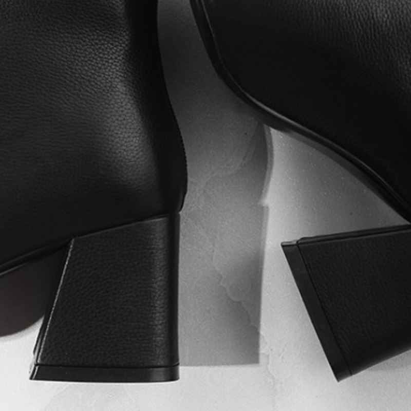 RIZABINA ของแท้หนังผู้หญิงรองเท้าข้อเท้า Vintage Square Toe Zipper รองเท้าส้นสูงรองเท้าสุภาพสตรีทุกวันรองเท้าขนาด 32- 43