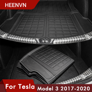 Heenvn Model3 Car Trunk Mat For Tesla Model 3 Rear Cargo Tray Trunk Waterproof Protective Pads Model There Interior Accessories hot car front trunk storage mat cargo tray trunk waterproof protective pads compatible for subaru xv forester outback 2019