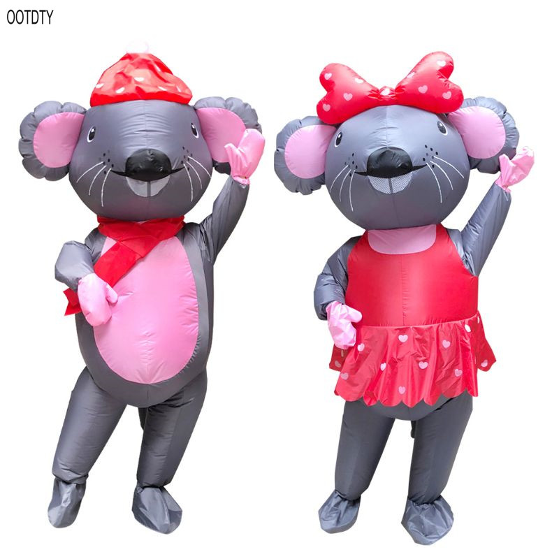 Miss./Mr. Mouse Outfit Adult Inflatable Costume Cosplay Christmas Outdoor Stage Props Performance Clothing