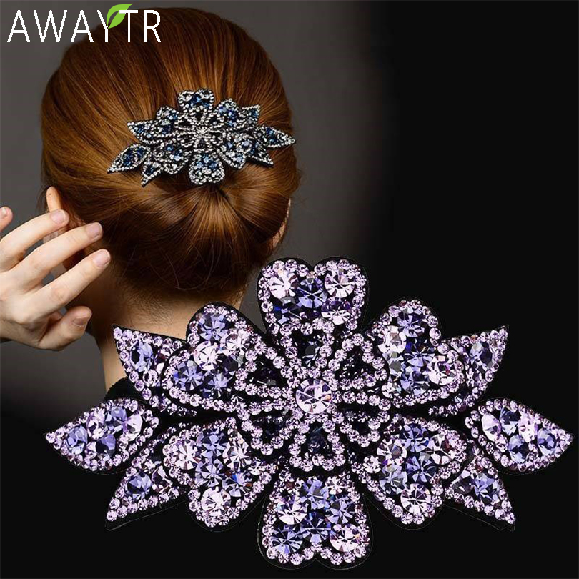 AWAYTR Crystal Flower Barrettes Hair Clips for Women Vintage Rhinestone Hairpins Headwear Girls Hair Accessories Jewelry Clips|Women