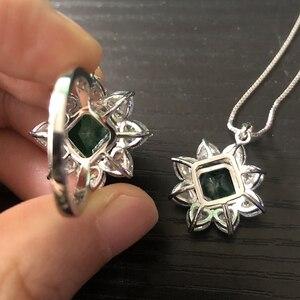 Image 5 - PANSYSEN 여성을위한 절묘한 럭셔리 10MM 스퀘어 에메랄드 반지 여성 기념일 칵테일 파티 반지 다이아몬드 파인 쥬얼리 선물