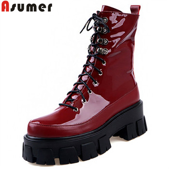 ASUMER fashion genuine leather boots women round toe zip ladies ankle boots cross tied autumn winter platform boots women 2020