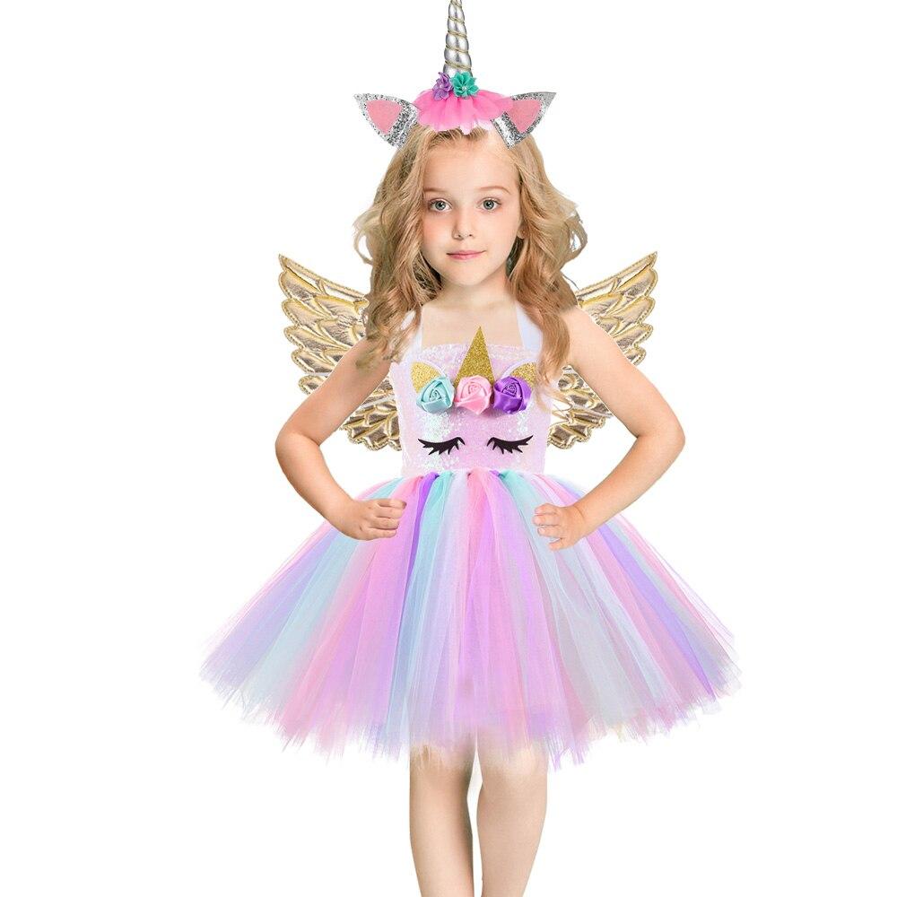 Unicórnio vestido lantejoulas menina macacão ballet dança bola princesa tutu vestido festa de aniversário presente halloween cosplay traje w asas