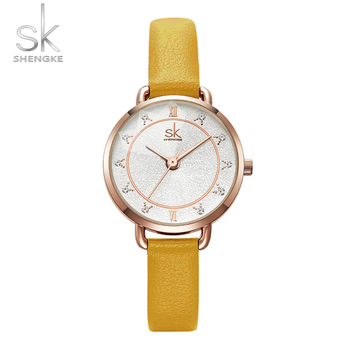 Shengke Simple Fashion Watch for Women Luxury Crystal Diamond Cutting Glass SK CLOCK Waterproof Leather Women's Watches image