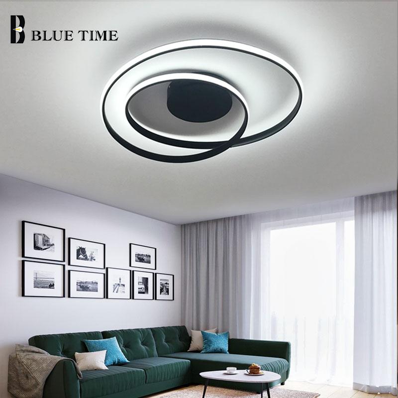 BLUE TIME Led Chandelier Black White Modern Chandelier Lighting Fixtures For Living Room Bedroom Dining Room Aluminum PVC Lights