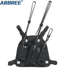 ABBREE راديو مربط صدر الصدر الجبهة حزمة الحقيبة الحافظة سترة تزوير ل Baofeng UV 5R UV 82 UV 9R زائد اسلكية تخاطب (الانقاذ الأسا