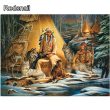 DIY Diamond Painting Cross Stitch 5D Forest Needlework Mosaic Indians With Wolf Group Full Square Drill Diamond Embroidery TT992 fullcang diy 5pcs full square diamond embroidery wolf and scenery diamond painting cross stitch 5d mosaic needlework kits d952