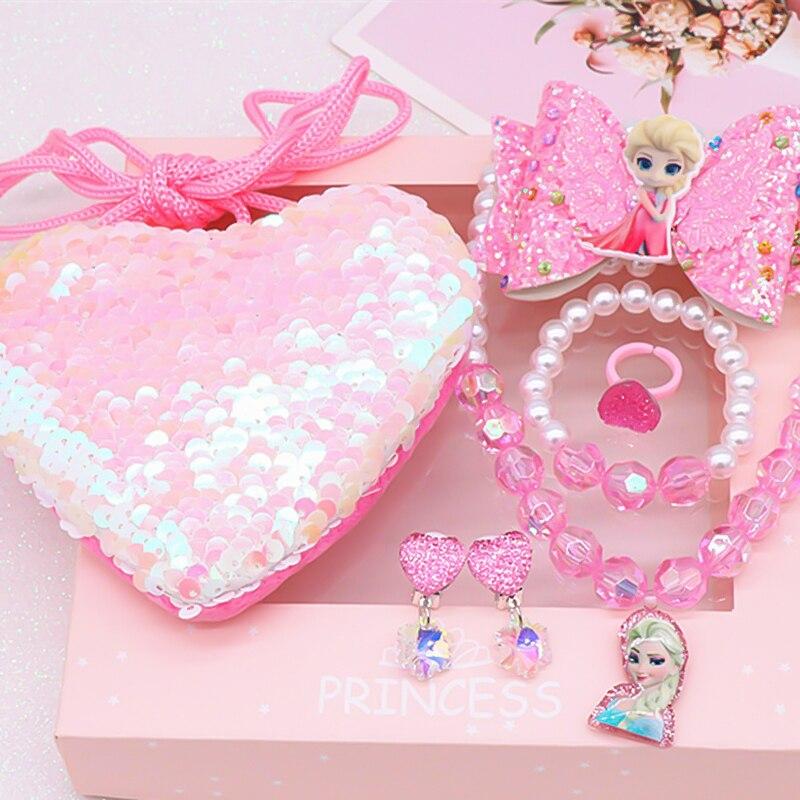Frozen 2 Children Girl Toy Disney Mermaid Unicorn Sofia Elsa Princess Necklace Bracelet Jewelry Necklace Cartoon Purse Gift Set
