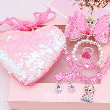 Girl Toy Necklace Sofia Elsa Princess Frozen 2 Disney Mermaid Bracelet Jewelry Gift-Set
