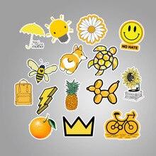 Naklejki na laptopa w kolorze żółtym 50 sztuk