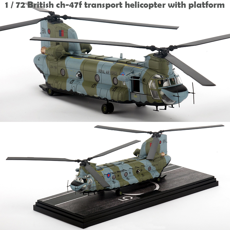 Fine  1 / 72 British Ch-47f Transport Helicopter With Platform  Finished Product Model  Alloy Collection Model