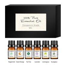 6pcs Pure Natural Plant Aroma Essential Oil Diffuser Eucalyptus Vanilla Mint Lavender Rose Tea Tree Oil For Aromatherapy Massage