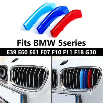 Car Front Grille Insert Trims For BMW E39 M5 E60 E61 F07 F10 F11 F18 G30 5 Series Accessories M 3 Sport Radiator Grills Stickers image