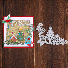 Naifumodo Christmas Tree Gift Dies Lace Corner Metal Cutting Dies New for Card Making Scrapbooking Cuts Decor Stencil Craft Dies(China)