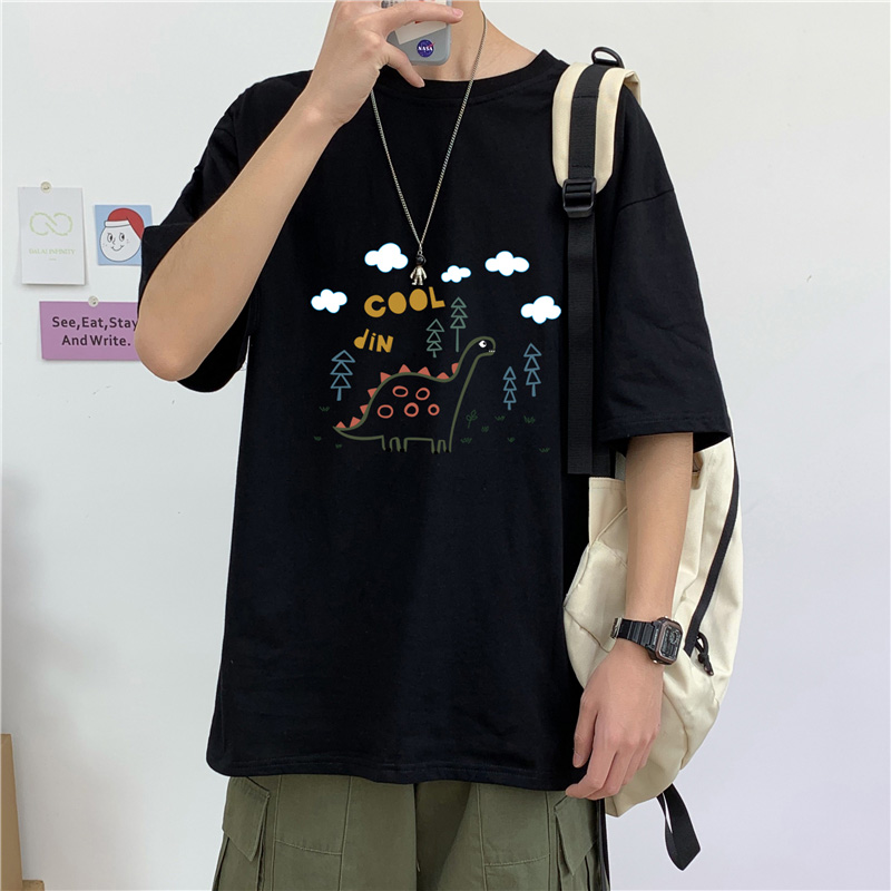 T Shirt Men Harajuku <font><b>Hong</b></font> <font><b>Kong</b></font> Style Fire Five Point Sleeve Men <font><b>Tshirt</b></font> Loose Men Clothing Casual Top Wild Half Sleeved T Shirt image