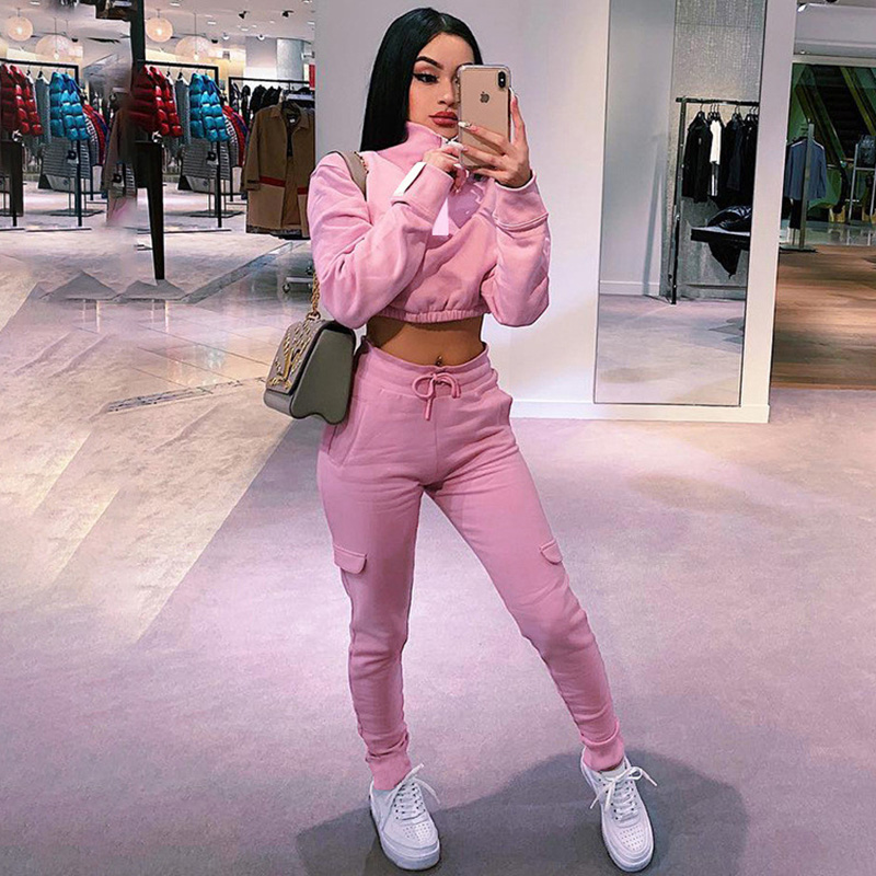 Hugcitar 2019 Long Sleeve Pink Crop Tops Cargo Pants 2 Two Pieces Set Autumn Winter Women Streetwear Tracksuit