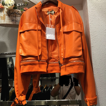 Streetwear Autumn New Chic Big pocket Short Orange Detachable hem Zipper Splicing Faux PU Leather jacket Women Motorcycle jacket