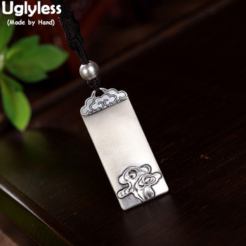 Uglyless Buddhism Heart Sutra Necklaces Rope Chains Solid 999 Silver Square Pendants Necklaces Ethnic Clouds Thai Silver Jewelry