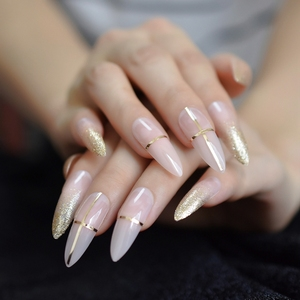 Beige Nude Glitter French Stiletto Press on False Nails Extra Long Natural Sharp Poited Gold Cross Line UV Gel Fake Fingers Nail(China)
