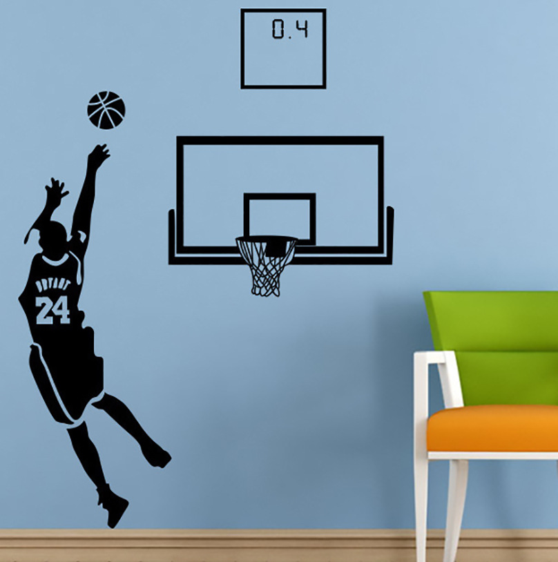 Customizable Kobe Basketball Self-Adhesive NBA Wall Stickers BOY'S Dormitory Bedroom Dormitory Wall Painting Support A Generatio