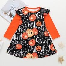 Halloween Baby Girl Dress Toddler Kids Girls Long Sleeve Cartoon Print Princess