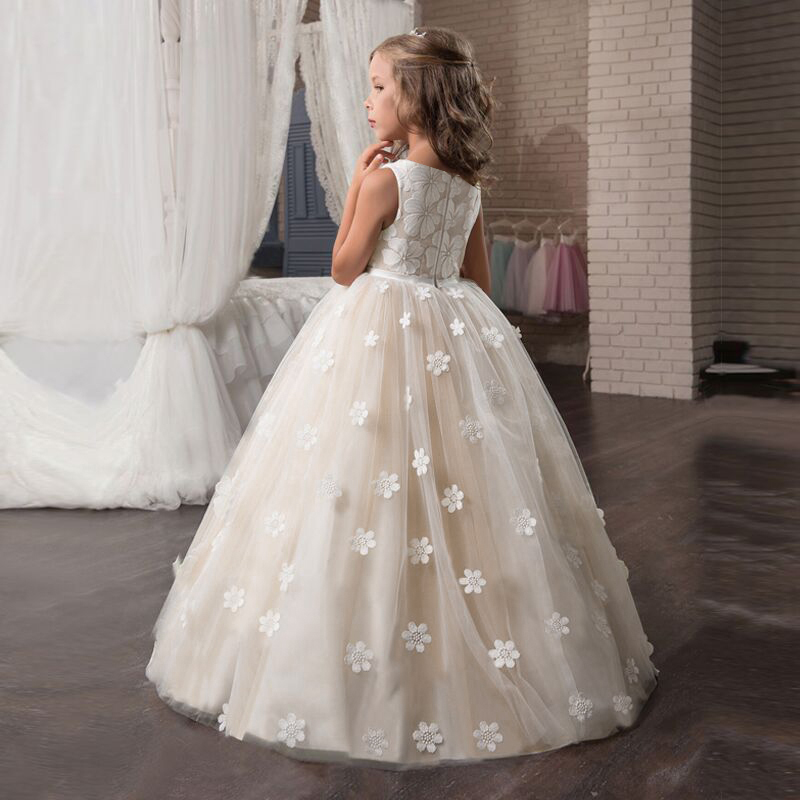 Fancy Flower Girl Long Gown for Princess Party Dress Children Formal Clothes Kids Dresses for Girls Wedding Evening Clothing 6