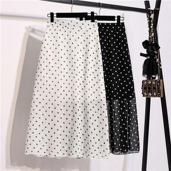 2020 New Summer Print Skirt Women Casual High Waist A-line Mid-calf Polka Dot Chiffon Skirt high waist polka dot print trumpet pants