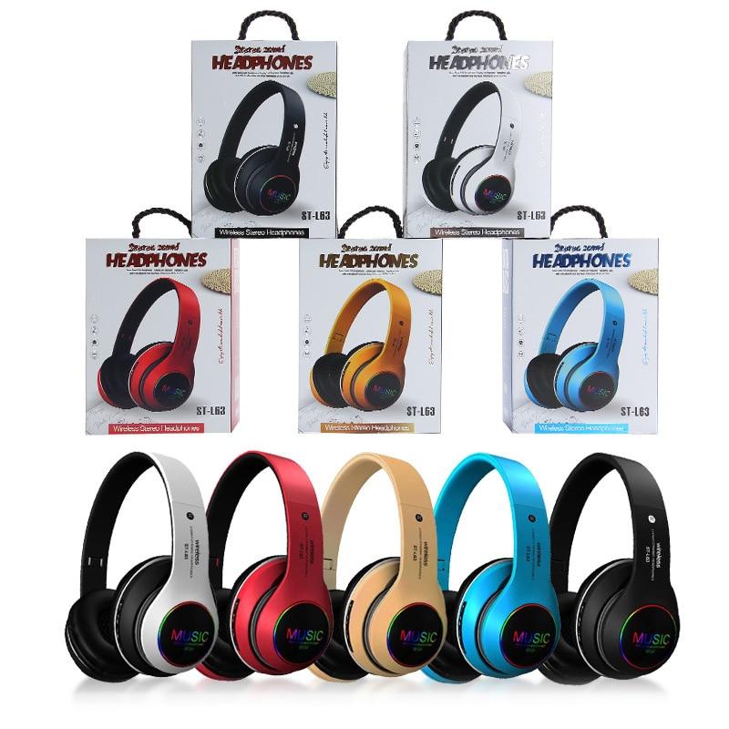 Auriculares inalámbricos con Bluetooth estéreo plegable para videojuegos, auriculares ajustables para Audio y Mp3, con micrófono y Soporte para tarjeta TF, con bajos LED|Auriculares y audífonos| - AliExpress