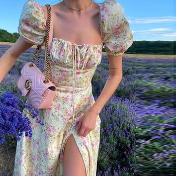 BEFORW 2021 Vintage Floral Dress Women Square Collar Puff Sleeve Long Dress Sexy Off Shoulder Side Split A-line Dress 1