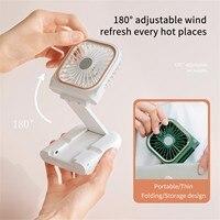 Mini ventilador plegable con USB, dispositivo portátil recargable con batería de 2021 mah, fabricante de viento ajustable de 3000 grados, n. ° 4, actualización de 180
