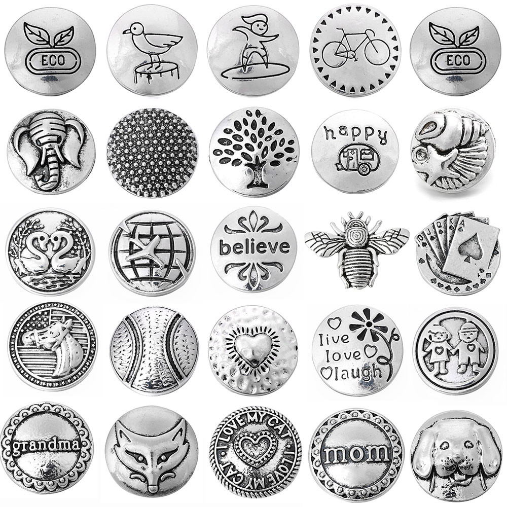 6pcs/lot New Snap Jewelry Round Metal Heart Mom Believe Happy 18mm Snap Buttons Fit Snap Bracelet Mother's Day Gift