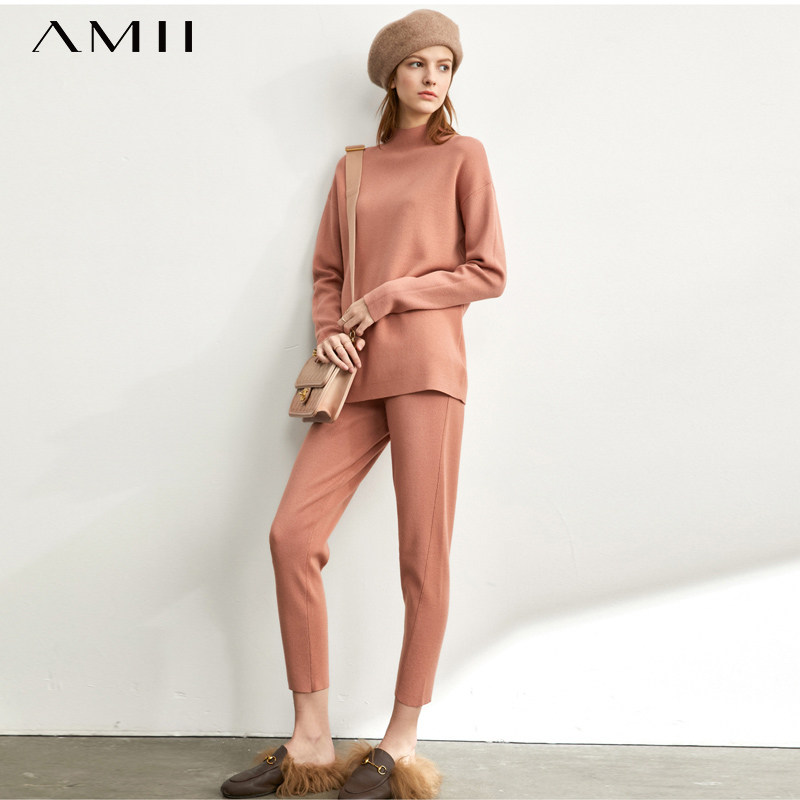 Amii Minimalist Korean Fashion Knitting Suit Women's New  Half High Neck Sweater Soft Knit Pant 11940516