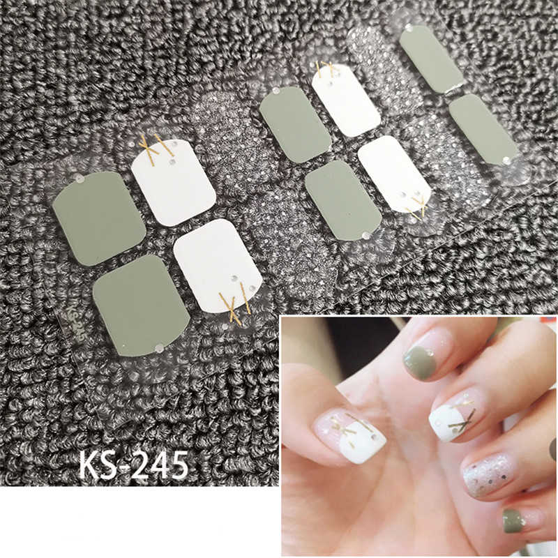 1 sayfalık gülümseme tam tırnak etiket tırnak sanat lehçe sarar şeritler Glitter toz yapışkan çıkartmalar DIY yanlış tırnak tasarım manikür