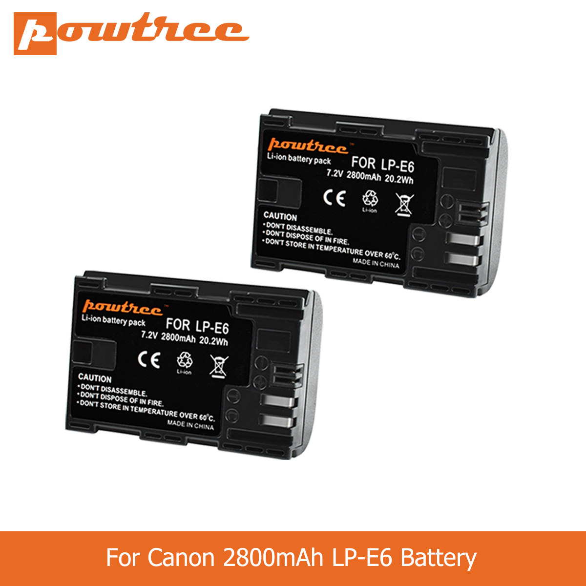 POWTREE 2800mAh LP-E6 LP E6 LPE6 Camera Battery For Canon 5D Mark II III 7D 60D EOS 6D 70D 80D For Canon Accessories L50