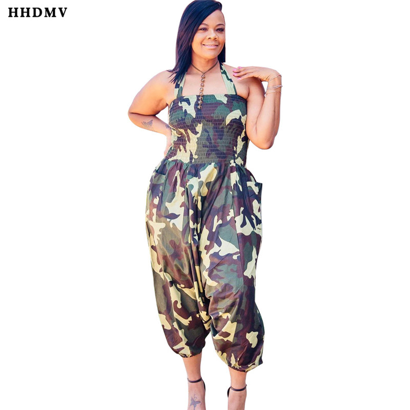 HHDMV OMF5039 street contracted casual style jumpsuits sleeveless hanging neck simple camouflage loose jumpsuits long pants