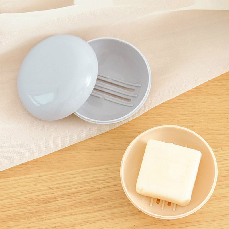 Household Plain Portable Soap Box Travel Round Drain Soap Box Travel Hiking Plastic Soap Box Holder With Cover Drop Shipping