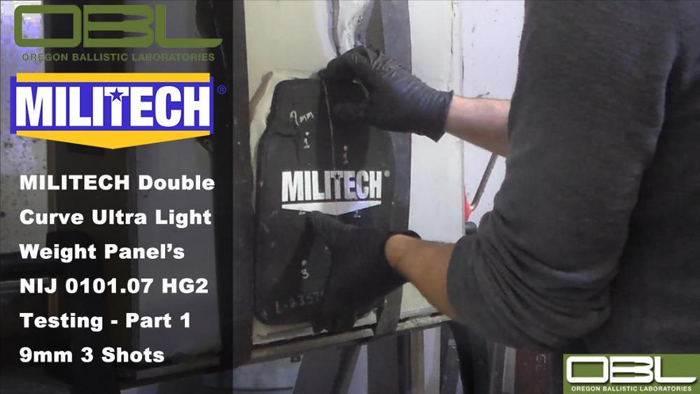 Test Video--MILITECH HG2 NIJ 0101.07 & NIJ IIIA 0101.06 Double Curve Hard Armor Testing - Part 1 9mm